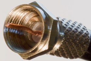 Side shot of an F Connector for cable TV